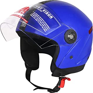 JMD HELMETS Grand Open Face Helmet (Blue, Large)