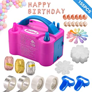 Electric Balloon Pump, Baidell Air Balloon Inflator/Blower 110V 600W Portable Dual Nozzle with Balloon Decorating Strip Tape, Balloons confetti and Pearl, Tying Tool, Glue Dots, Flower Clips & Curling Ribbon for Party Decoration