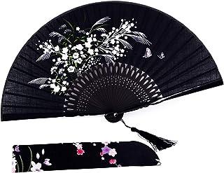 "Amajiji Charming Elegant Modern Woman Handmade Bamboo Silk 8.27"" (21cm) Folding Pocket Purse Hand Fan (Black)"