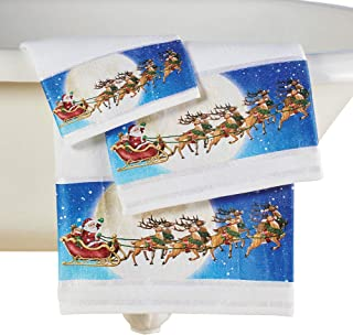 Collections Etc Flying Santa w/Sleigh and Reindeer Towel Set of 3