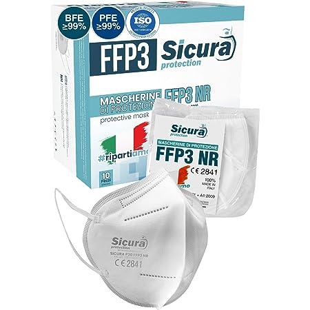 Eurocali 10 Mascherine Protettive FFP3 Certificate CE | Made in Italy | BFE ≥99% | PFE ≥99% | Mascherina Italiana sigillata singolarmente Prodotta e Confezionata in Italia (Scatola da 10)