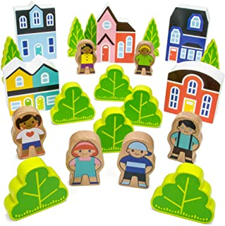 Imagination Generation Blocktown Little Wooden People Play Set, 22 Pieces Including Characters, Houses, Trees and More