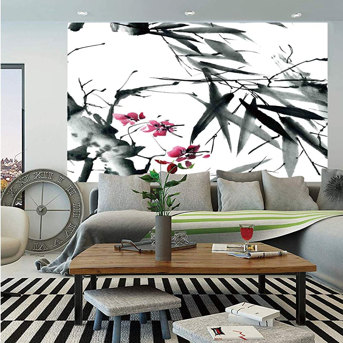 Traditional House Decor Wall Mural,Natural Sacred Bamboo Stems Cherry Blossom Folk Art Print,Self-Adhesive Large Wallpaper for Home Decor 83x120 inches,Dark Green Fuchsia