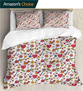VROSELV-HOME Print Comforter Quilt Set,Box Stitched,Soft,Breathable,Hypoallergenic,Fade Resistant Bedding Sets-Hearts Wildflowers Domestic Cat (80