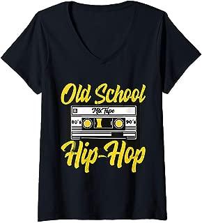 Womens Retro Old School Hip Hop 80s 90s Mixtape Cassette Gift V-Neck T-Shirt
