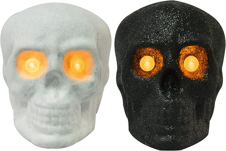 BRIGHTDECK Halloween Decorations Skull Light, Skull Statue Lamp Night Light, Skeleton Decor Table Ornaments for Party Bedroom Living Room (2-Pack)