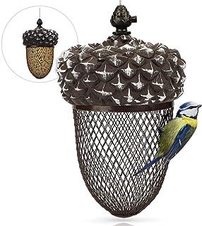 WILDLIFE FRIEND Vogelvoederdispenser voor pinda's, voederplaats eikel, pindakvoederdispenser van roestvrij metaal, vogelvo...