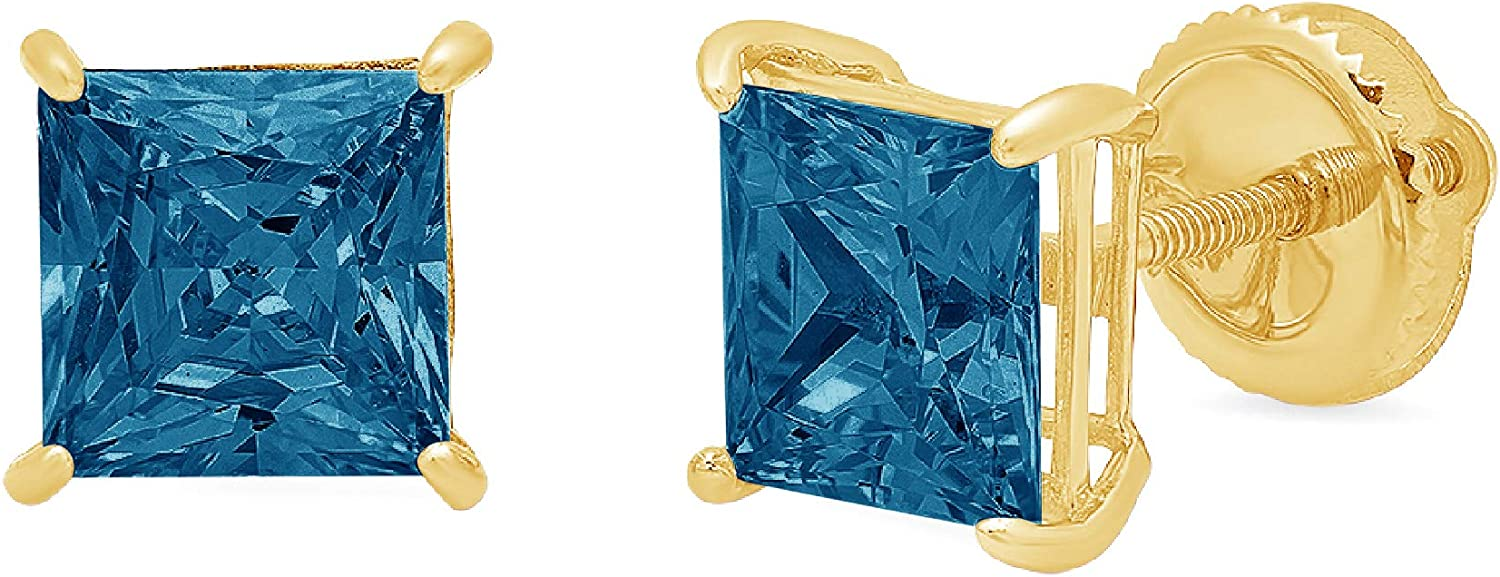1.9ct Princess Cut Solitaire Natural Royal Blue Topaz gemstone Unisex Designer Stud Earrings Solid 14k Yellow Gold Screw Back conflict free Jewelry