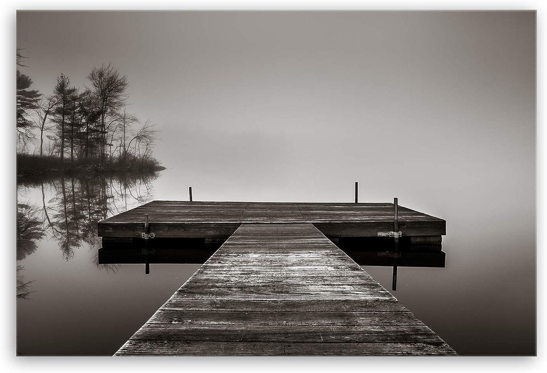 Ge Bildet® hochwertiges hochwertiges hochwertiges Leinwandbild XXL - Steg - schwarz weiß - 120 x 80 cm einteilig B07D4LFJ8T 0161bd