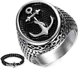 Gungneer Navy Rope and Anchor Ring for Men Stainless Steel Sailor Nautical USN Symbol Military Jewelry Accessory