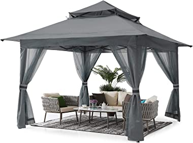 ABCCANOPY 13'x13' Gazebo Tent Outdoor Pop up Gazebo Canopy Shelter with Mosquito Netting (Gray)