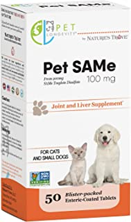 Pet Longevity Same 100 mg Pet Supplements – Liver and Joint Support for Cats, Small Dogs with Elevated Enzymes – S Adenosyl Methionine - 50 Gluten Free Enteric Coated Tablets – Non GMO Certified