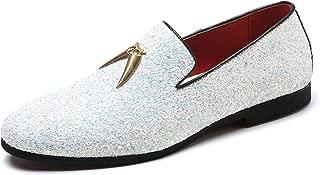 Santimon Mens Loafer Metallic Slip-on Glitter Fashion Smoking Slipper Moccasins Casual Dress Shoes