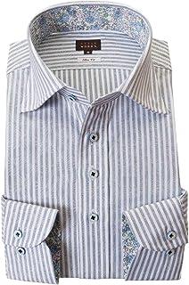 [スタイルワークス] ドレスシャツ ワイシャツ シャツ メンズ 国産 長袖 綿100% スリムフィット 胸ポケット無 ワイドカラー ブルーロンドンストライプ&ジャガード織柄リーフ