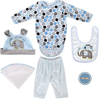 """ENADOLL Reborn Dolls Baby Clothes for 22"""" Newborn Doll Boy Baby Clothing Blue Elephant Outfit Sets Accessories"""
