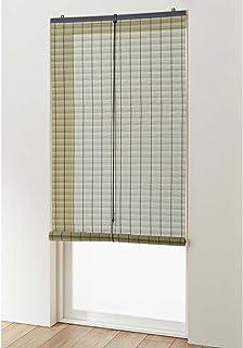 風が通る取り付け簡単樹脂製すだれ[日本製] グリーン サイズ:約60×90cm