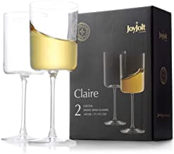 JoyJolt White Wine Glasses – Claire Collection 11.4 Ounce Wine Glasses Set of 2 – Deluxe Crystal Glasses with Ultra-Elegan...