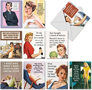 10 Funny 'Hot Mess' Birthday Notecards w/ Envelope - Assorted Greeting Cards Featuring Hilarious Quotes About Forgetting and Losing Things, Great for Sisters, Mothers, Friends 4 x 5.12 Inch M6622BDG