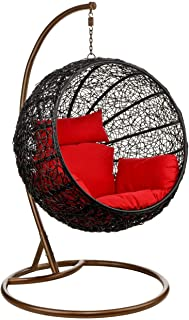 Wicker Rattan Hanging Egg Chair Swing for Indoor Outdoor Patio Backyard, Stylish Comfortable Relaxing with Cushion and Stand (Red)