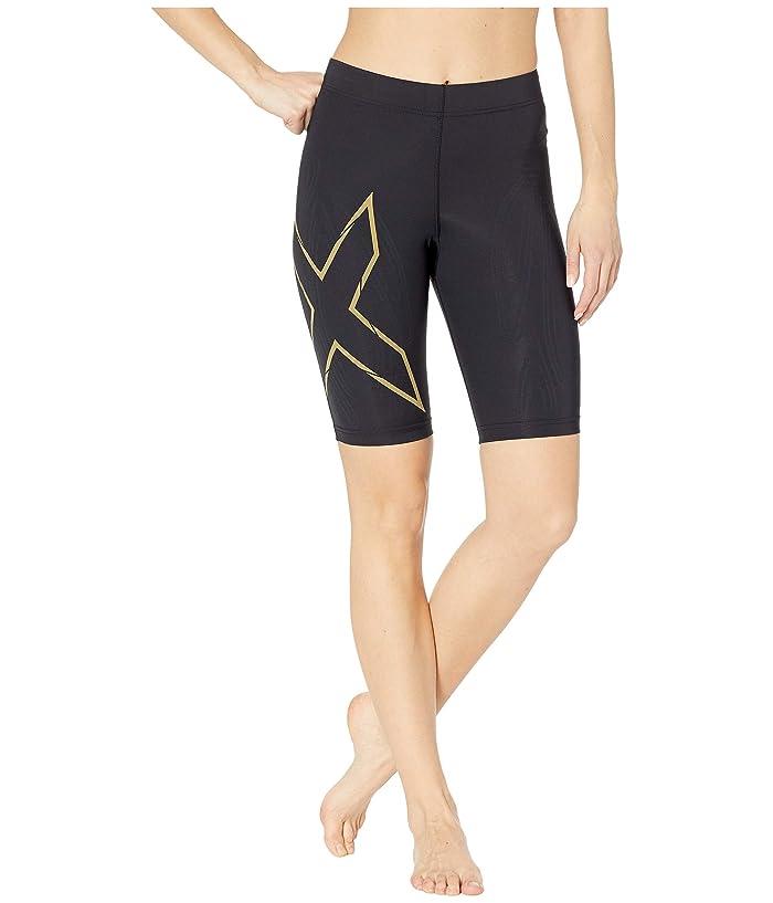 2XU MCS Run Compression Shorts (Black/Gold Reflective) Women