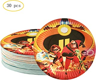 30PCS Incredible 2 Party Plates 7 Inch Disney Incredible Cake Decorations Supplies