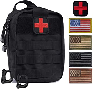 R.SASR Tactical Medical Kit Molle Pull Away Pouch, Tactical MOLLE Medical First Aid Kit Utility Pouch (Black)