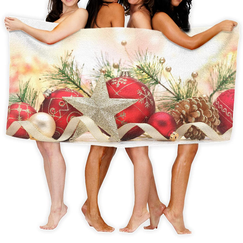 130×80 Cm クリスマス装飾品5 ソフトタオル ビーチタオル 折りたたみ 吸水性バスビーチタオル ビーチ プール 海水浴 ビキニ 水着