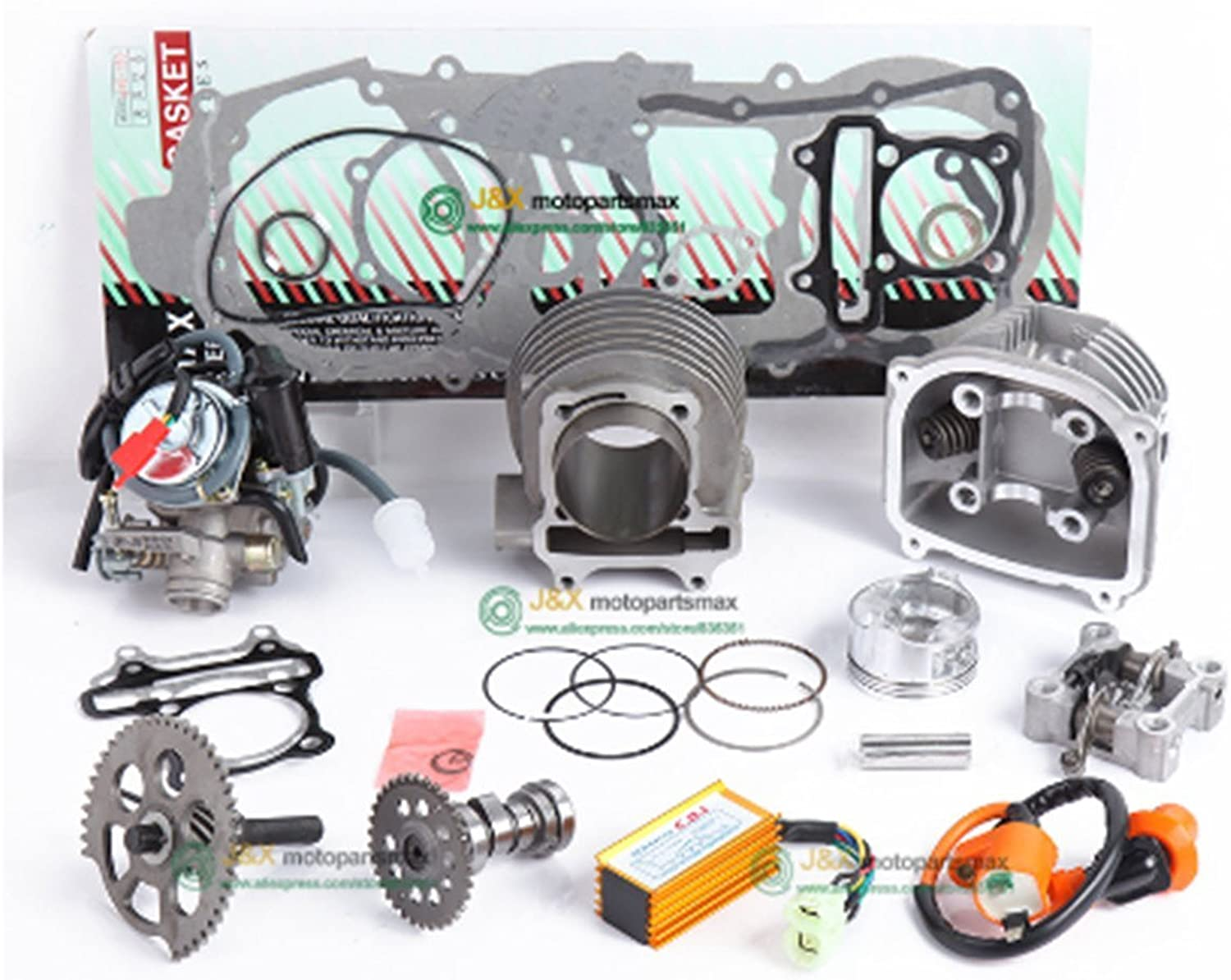GY6 125cc 150cc Upgrade to GY6 200cc add Power at Least 30% Racing Camshaft CDI Muffler Performance Exhaust,Oil Pump and Gear Accessories