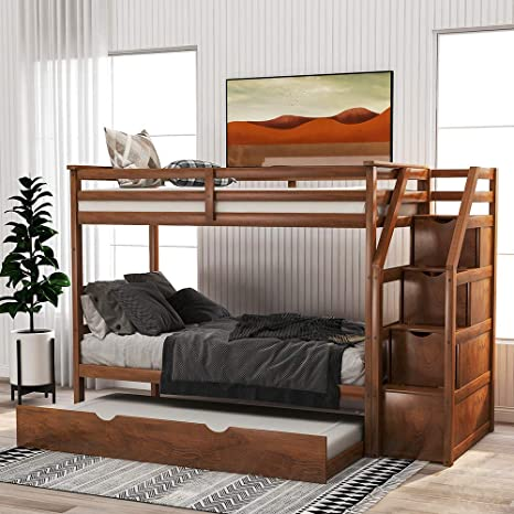 Amazon Com Trundle Bunk Beds Rockjame Solid Wood Twin Over Twin Bunk Bed With Stairs Storage And Safety Guard Rail For Boys Girls Kids Teens And Adults Walnut Kitchen Dining