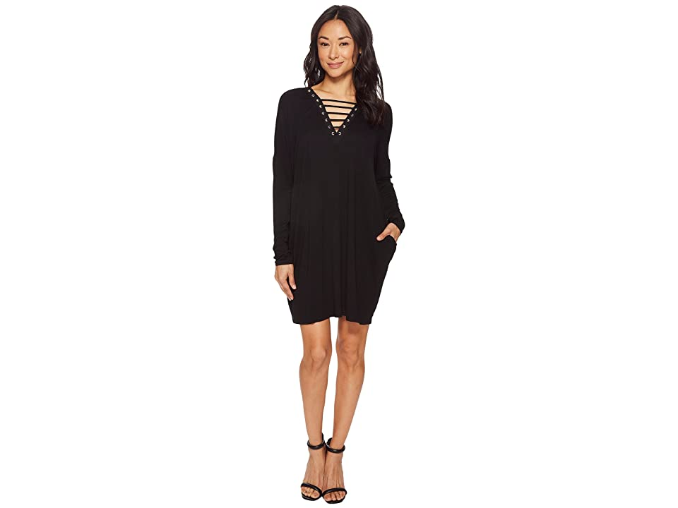 American Rose Chloe Long Sleeve Strappy Dress with Grommet Detail (Black) Women