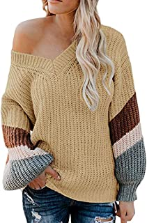 Women Color Block Sweater Long Sleeve Striped Knitted Pullover Loose Tops Tunic