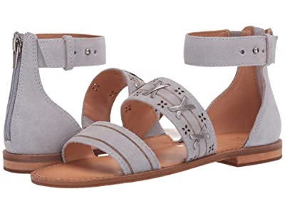 FRYE AND CO. Evie Whipstitch 2 Band Sandal (Ice Blue Suede/Metallic Full Grain) Women