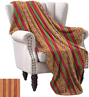 Native American Super Soft Blankets South American Colorful Pattern with Birds Bolivian Traditional Borders Fall Winter Spring Living Room 60