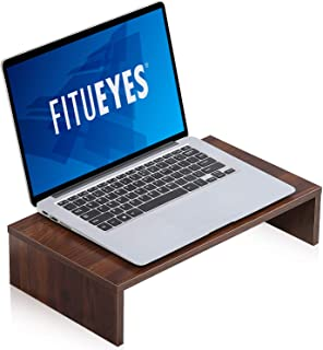 FITUEYES Computer Monitor Stand Wood PC/Laptop/TV Screen Riser Desk for Home Office and School 42.5x23.5x10cm Walnut Brown...