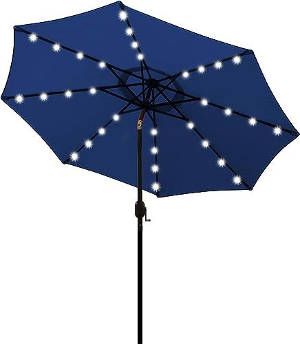 Blissun 9 ft Solar Umbrella 32 LED Lighted Patio Umbrella Table Market Umbrella with Tilt and Crank Outdoor Umbrella ...