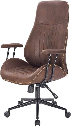 PROMECITY Exekutiv Bürostuhl, Höhen-Verstellbarer Computer-Drehstuhl Ergonomischer Konferenzstuhl, Schreibtischstuhl aus PU-Leder, Braun
