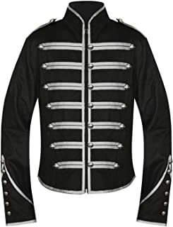 Men's Unique Gothic Steampunk Silver Black Parade Military Marching Band Jacket