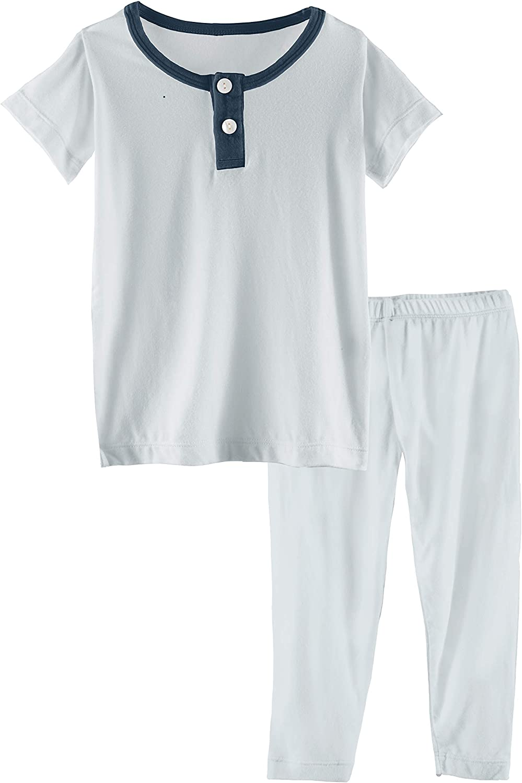 KicKee Pants Solid Award-winning store Short Sleeve Sle Set Henley Baby 2021 autumn and winter new Pajama