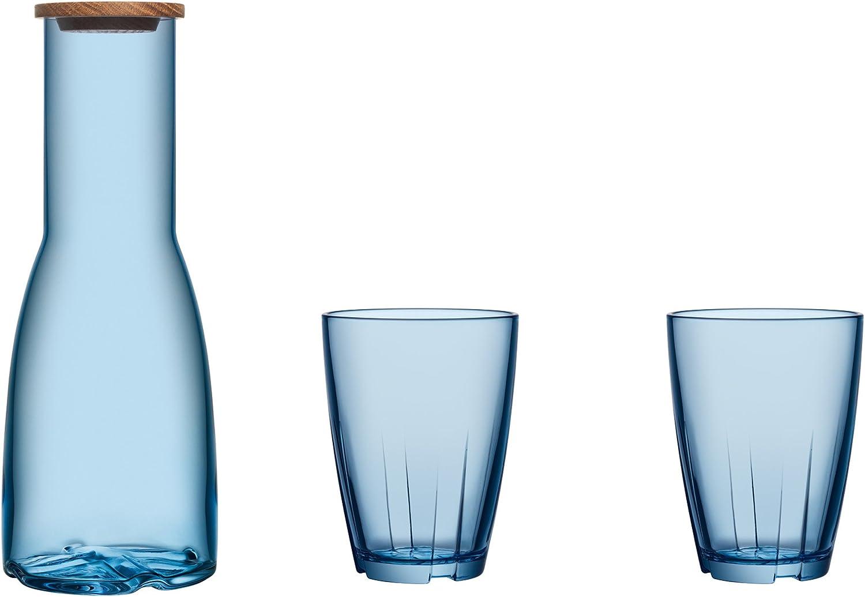 Kosta Boda 7015544 3 Piece Bruk Carafe Set, bluee