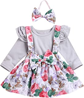 Goodtrade8 2pc Infant Baby Girl Long Sleeve Flower Ruffle Backless Bow Dress Shorts Outfit Clothes