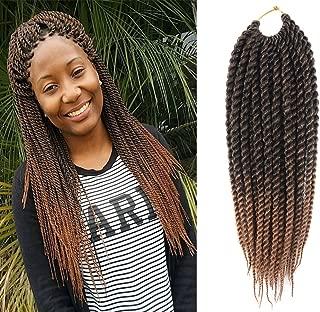 UNA 12inch Senegalese Twist Crochet Hair Short Braids Small Havana Mambo Twist Crochet Braiding Hair Senegalese Twists Hairstyles For Black Women 22strands/pack (3-piece, T1B/27#)