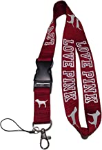 LOVE PINK Lanyard Burgundy Maroon Neck Strap Keychain ID Holder Keyring for Keys Phones Bags