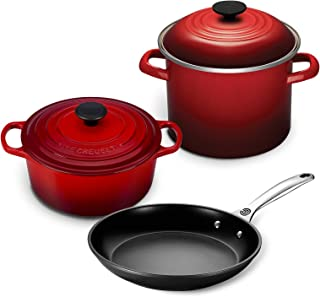 Le Creuset 5pc Oven and Stovetop Cookware Set (4.5-Quart Round Dutch Oven, 6-Quart Covered Stockpot, 10-Inch Toughened Nonstick Fry Pan) (Cherry)