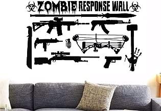 Zombie Killer Response Team Wall Ak-47 M4 Ar Bow Sniper Rifle Oozi Pistol Gamer Decal Home Decor Vinyl Wall Sticker
