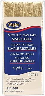 Wrights 117-211-046 Single Fold Lame Bias Tape, Gold, 4-Yard