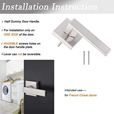 Probrico [Pack of 10]Door Lever Dummy Lever Door Handle for Closets French Doors,Square Dummy Door Lever,Non-Turning Single S