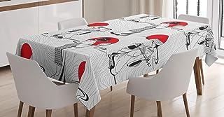 ABAKUHAUS Asiatique Nappe, Japonaise Moderne, Linge de Table Rectangulaire pour Salle à Manger Décor de Cuisine, 140 cm x ...