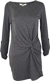 Ya Los Angeles Womens Simply Twisted Knit Dress Gray Medium