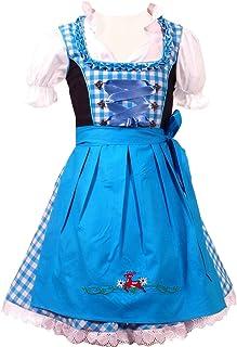 Kiddy Tracht Authentic Deutscher Bayerische 3 tlg Kinder Dirndl Kleid für Oktoberfest, Bluse, Schürze, Gr. 92,104,116,128,140,146,152, Türkis Weis Kariert