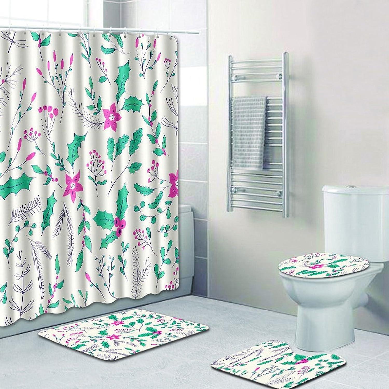 los nuevos estilos calientes Cortina de bao bao bao europea de poliéster patrón de impresión ambiental decoración de bao 4 piezas (cortina de bao, almohadilla de suelo, cubierta de inodoro, almohadilla de pie) Suministros de bao  muchas sorpresas